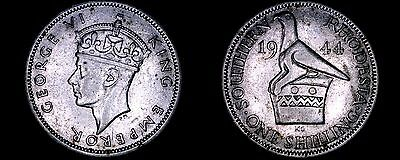 1944 Southern Rhodesia 1 Shilling World Silver Coin - British Admin