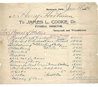 Vintage 1914 Invoice For Funeral! Embalming $10! Casket! Slippers! Manayunk, Pa!