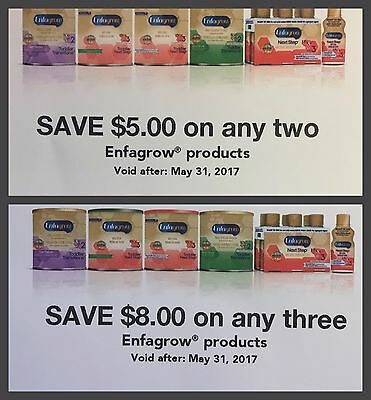 Lot of 2 Coupons $8.00 and $5.00 in Enfagrow product exp 05/31/2017