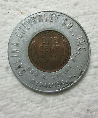 Salina Chevrolet Co. Syracuse N.y. New York - 1948 Lincoln Cent Good Luck Penny