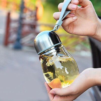 400ml Water Glass Bottle Sports Travel Mug Outdoor Drinking Tea Infuser Cup