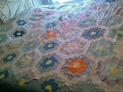 Vtg. Antique Grandmother Flower Garden Quilt Top Hand Stitch 74 x 80