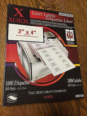 "Xerox 2""x4"" Laser Labels 1.000 labels on 100 sheets LW0130"