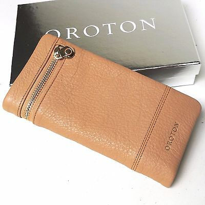 RRP$225 New OROTON Bueno Soft Fold Wallet Purse Clutch Leather Natural SALE