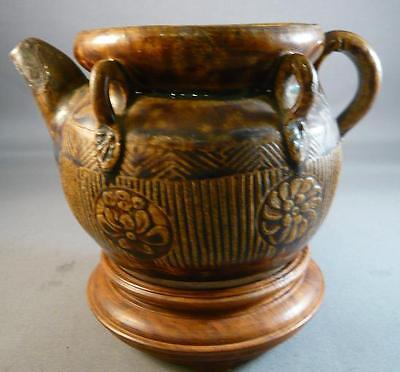 Antique Chinese Ming/ Ching Oil Pourer Pot Jar Porcelain/ Ceramic Brown W/stand