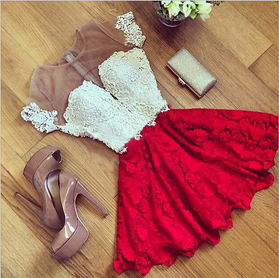 Women's Dress Summer Floral Lace Sleeveless Evening Party Casual Mini Dress