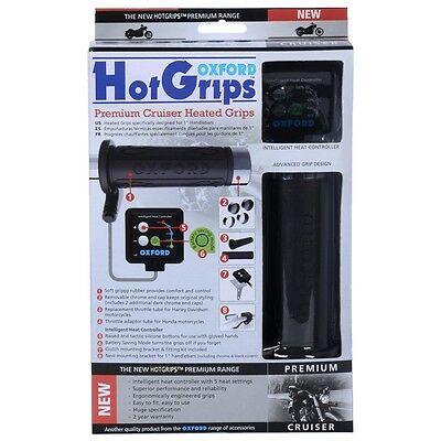 Oxford Hotgrips Premium Cruiser Motorcycle With V8 Switch Black