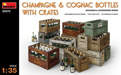 Miniart 1/35 Plastic Model Kit Champagne & Cognac Bottles With Crates Ma35575