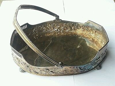 Antique Pairpoint MFG Co Quadruple Silver Plate Footed Handle Basket