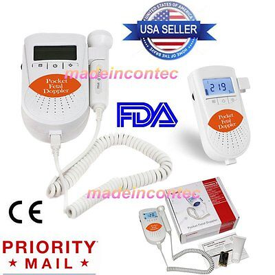 CONTEC Fetal Doppler, Baby Heart Monitor, 3Mhz Probe,Backlight LCD+Battery+Gel