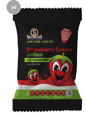 910895 4 x 70g BAGS OF SUGAR FREE STRAWBERRY CREAM JELLIES! LOW GLUTEN - FRANCE