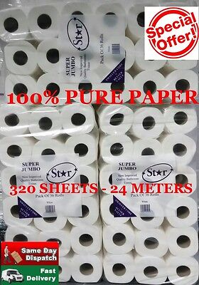 216 Toilet Rolls 2Ply Sheet Tissue Luxury Quilted Paper 6 Cases Super Jumbo