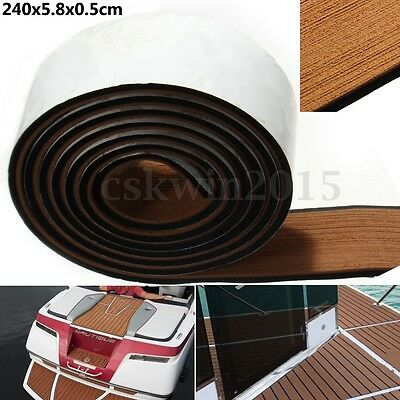 Brown Boat Flooring Teak Decking Edges Sheet Pad w/ Black Caulking 240x5.8x0.5cm