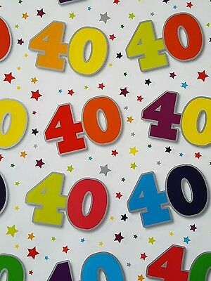2 Sheets Of Thick Glossy 40Th Birthday Wrapping Paper