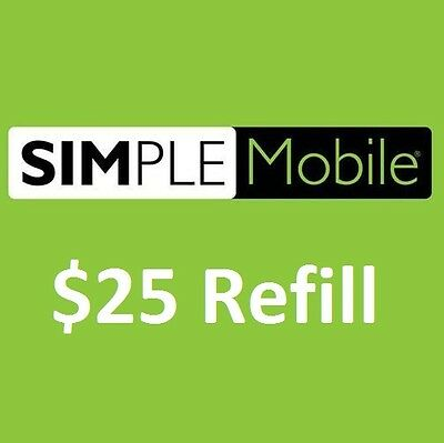 Simple Mobile $25/Month Unlimited Talk/Text Plan Refill. Fast & Right