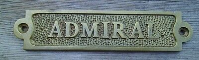 Antiqued Brass ADMIRAL Sign Plaque Nautical Ship Boat Decor NEW