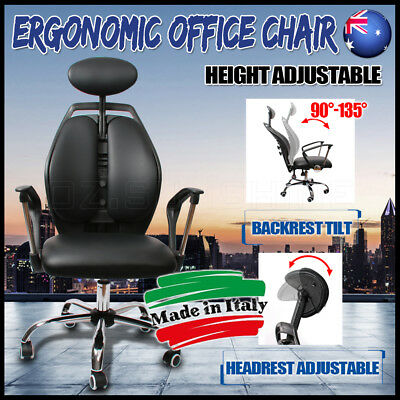 Luxury Ergonomic Office Chair Leather Seat Adjustable Height Back Head Rest AU