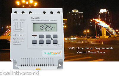 SINOTIMER LCD Digital Three Phases Programmable Control Power Timer Switch 380V