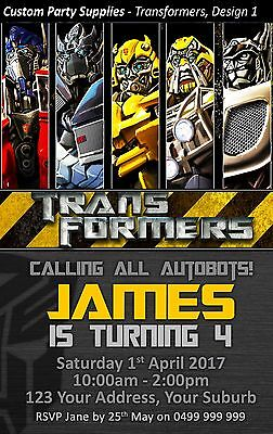 Transformers Birthday Party Invites Invitations Personalised bumble bee optimus