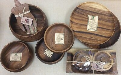Hardwoods of the South Pacific WOODEN hand carved Hawaii10 Pc  Lot Bowls Plates