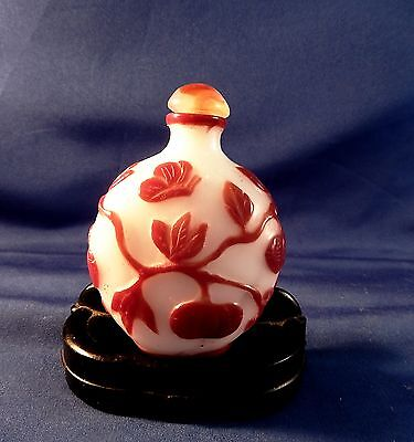 Qing CHINA -  Peaking Glass Overlay  Snuff Bottle -  1800's