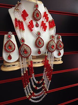 Latest Red Bollywood Indian Bridal Party Necklace Earrings Tikka Jewellery Set