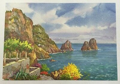 PostCard Of italy-4,1/2x6,3/4inch-Capri-printed On Pounded Paper.-Made In Italy