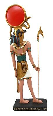 Egyptian God Horus Ra Holding Wadjet Staff Slim Figurine Statue on Base Stand