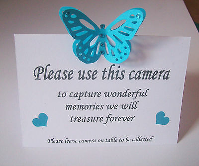12 handmade 3D Butterfly wedding table camera cards