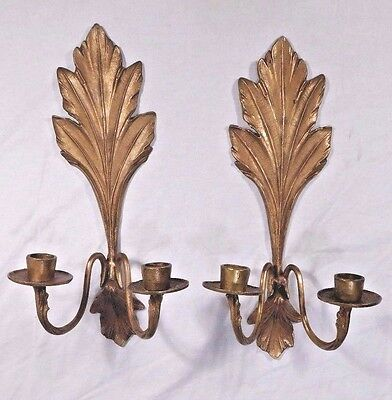 PAIR Vintage Brass Double Candle Wall Sconce Rococo Louis XIV Style Regency Leaf
