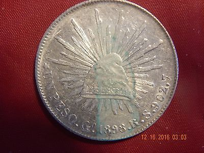 1898 GoRS Mexico Silver (.7859 asw) Un Peso - AU coin with stain