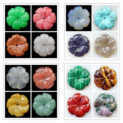 Carved 30x5mm Mixed Gemstone Flower Pendant Bead Choose Your Like Stone