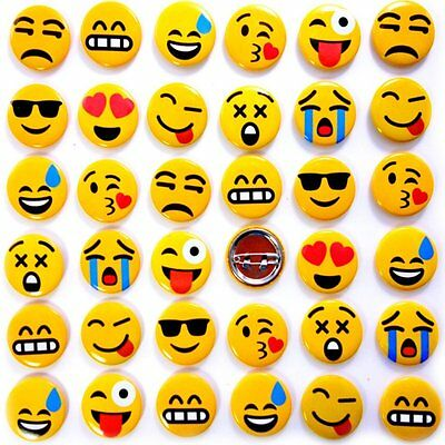 German Trendseller® - 6 x Emoji Button zum Anstecken ┃ Party Emoticons