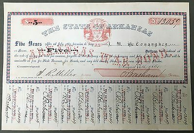 State of Arkansas War Bond - $5 - 1861