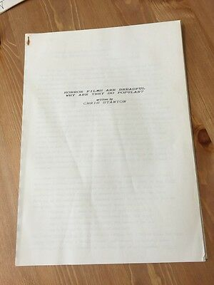 1974 Article/ Script / Essay By Chris Stanton 'horror Films  Are Dreadful'