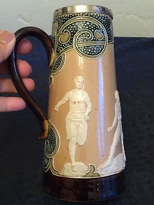 early antique DOULTON LAMBETH stoneware tankard pitcher figural sports Athletes