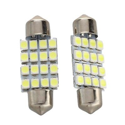 2 KFZ Lampe Soffitte Innen 36mm 16 SMD LED Weiss Sofitte MA