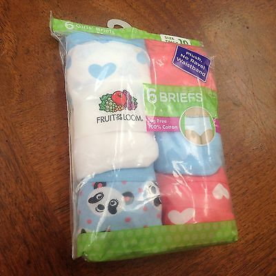 Brand new fruit of the loom 6 girls briefs size:10