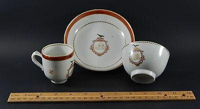 Antique Chinese Export Blackbird 3 Piece Cup Saucer Set American Market c.1795