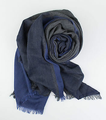 NWT BRUNELLO CUCINELLI Blue/Gray Plaid Cashmere Blend Scarf  $925
