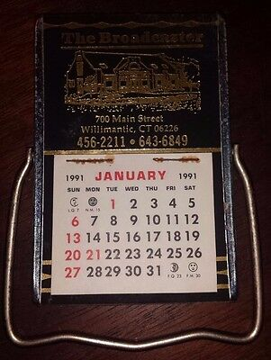�� The Broadcaster 1991 Vintage Calendar & Mirror Advertising Willimantic Ct ��