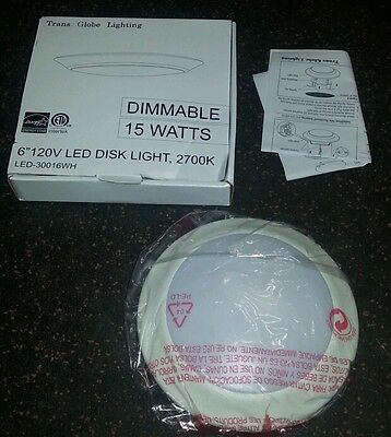 "Trans Globe Lighting 6"" LED Disk Light Fixture 15 watt 120V LED-30016WH-dimmable"