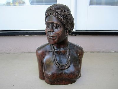 Vintage Indonesian Balenese Balii Carved Wood Woman Bust Scultpure