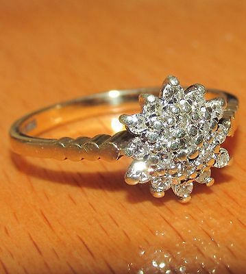 BEAUTIFUL SECONDHAND  9ct YELLOW  GOLD & DIAMOND CLUSTER RING SIZE L