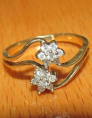STUNNING  SECONDHAND 9ct YELLOW GOLD TWO DIAMOND CLUSTER  RING SIZE Q1/2