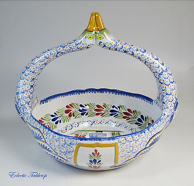 Hand-Painted French Quimper Swan Basket with Breton Woman - Mint!