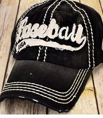 Women's Cap / Hat - Black Vintage Distressed Baseball Hat With Thick Stitch