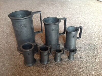 Peltrato vintage Italian pewter measuring cups Set of 7 with original box