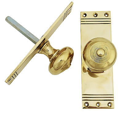 Pair Solid Brass Regency Mortise Door Knobs on Back Plate - antique style handle