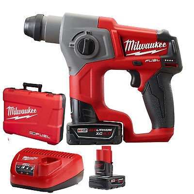 "5/8"" M12 FUEL SDS Plus Rotary Hammer + 2 Batt Kit Milwaukee 2416-22XC New"